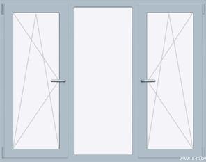 Окно REHAU BLITZ 2020х1430(кир) мм (П/О+Г+П/О - СП2)