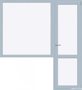 Балконный блок REHAU BLITZ 1300x2140 мм (Г+П/О - СП2)+1