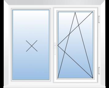 Окно REHAU BLITZ 1430х1430(кир) мм (Г+П/О - СП2)+1